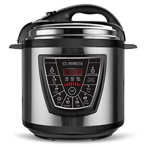 Electric Pressure Cooker, CUSIBOX Multifunctional Electric Pressure Cooker, Stainless Steel 6Qt 1000W Rice Cooker, Egg Cooker, Steamer and Warmer