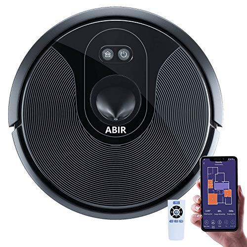 ABIR Robot Vacuum Cleaner, 1800Pa Adjustable Suction Power, 360° Smart Sensor Protection, Wi-Fi App, Quiet, Self-Charging, Multiple Cleaning Modes Robotic Vacuum Cleaner for Pet Hair,Hard Floor,Carpet
