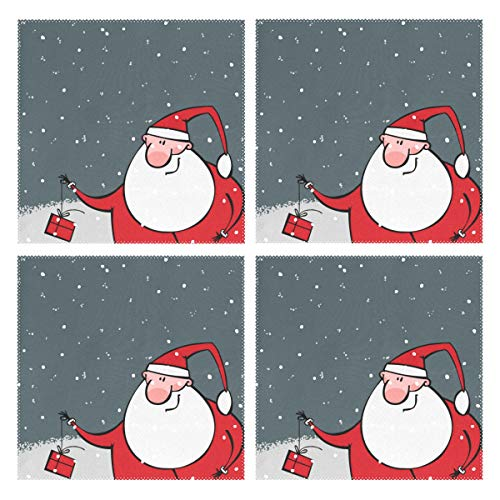 LUCASE LEMON ALEX Christmas Santa Claus Set of 4 Placemats Heat-Resistant Table Mat Washable Stain Resistant Anti-Skid Polyester Place Mats for Kitchen Dining Decoration -