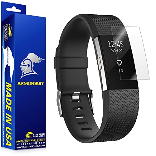 (ArmorSuit MilitaryShield Full Coverage Anti-Bubble HD Screen Protector for Fitbit Charge 2, Pack of 2)