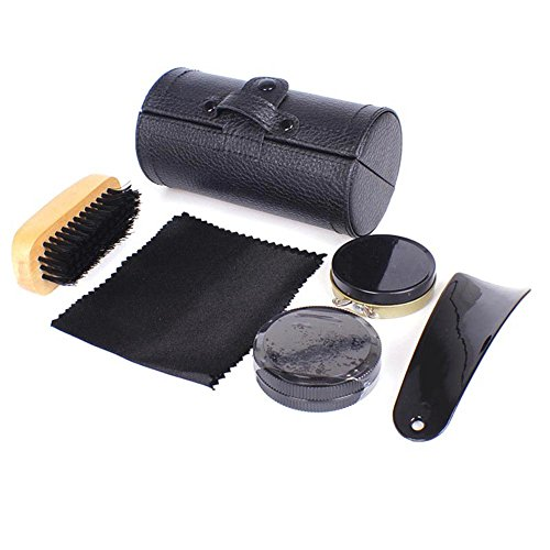 Lzndeal 6Pcs/Set Portable Travel Shoes Shine Kit Shoehorn Wooden Brushes Leather Care Men Shoes Smooth Cleaning Polish Tools by Lzndeal