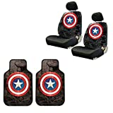 5 Captain America 2 Pc Front Floor Mats And Seat Cover