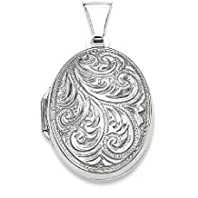 IceCarats 925 Sterling Silver Scroll Oval Photo Pendant Charm Locket Chain Necklace That Holds Pictures