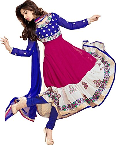 Mirchi Fashion Women Blue Magenta Party Wear Indian - Women Indian Suits