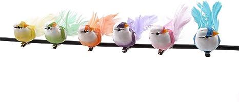 6 Artificial White Fake Feather Garden Mini Birds Craft Home Christmas Tree