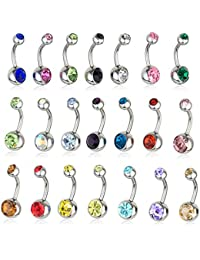 21 Pieces 14g Belly Button Rings 316L Surgical Steel Navel Body Piercing Jewelry Assorted Colors