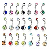 Musesland 21 Pieces 14g Belly Button Rings 316L Surgical Steel Navel Body Piercing Jewelry Assorted Colors