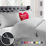 Whats the Size of a California King Bed Nestl Bedding Duvet Cover, Protects and Covers your Comforter/Duvet Insert, Luxury 100% Super Soft Microfiber, Cal King Size, Color Silver Light Gray, 3 Piece Duvet Cover Set Includes 2 Pillow Shams