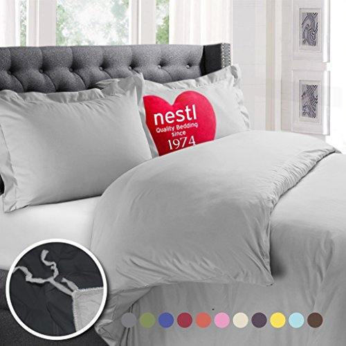 Nestl Bedding Duvet Cover, Protects and Covers your Comforter / Duvet Insert, Luxury 100% Super Soft Microfiber, Twin Size, Color Silver Light Gray, 2 Piece Duvet Cover Set Includes 1 Pillow Shams (Bedding Silver Twin)