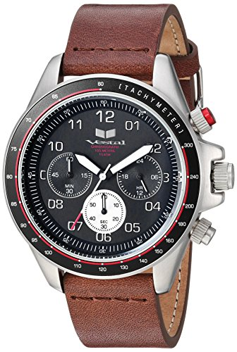 Vestal ZR2 Leather Stainless Steel Japanese-Quartz Watch with Strap, Brown, 20 (Model: ZR243L20.BR)