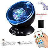 [Newest Design] Ocean Wave Projector,12 LED &7 Colors Night Light,Remote Control,Kids Bedoom,Built-in Mini Music Player(Black)