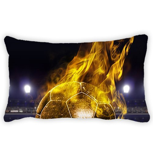 Polyester Soccer Fire Bolster Throw Lumbar Pillow Case Cushion Cover For Couch Sofa Home Decorative Rectangle 12x18 Inches by ColbyHazlitt