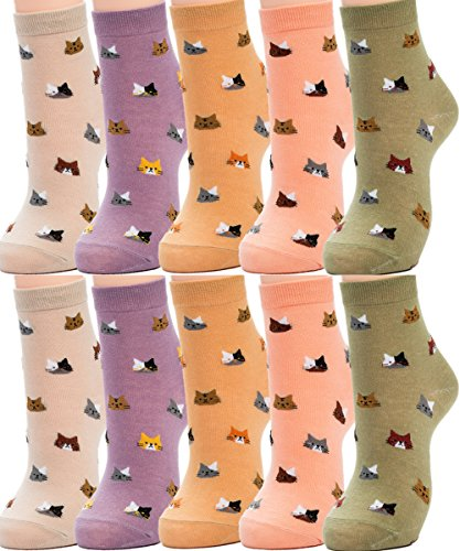 Novelty Print Socks (Losa Kute 5 Pairs Women Crew Socks Casual Cute Cotton Cat Head Socks Long Ankle Socks Lovely Colorful Funny Novelty Girls Warm Stockings Socks with Design for Sneakers Boots Ladies WCS2-Many Cats)