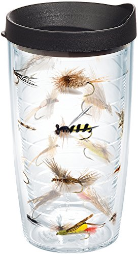 Art Fishing Fly (Tervis 1090170 Fish Flies Tumbler with Wrap and Black Lid 16oz, Clear)