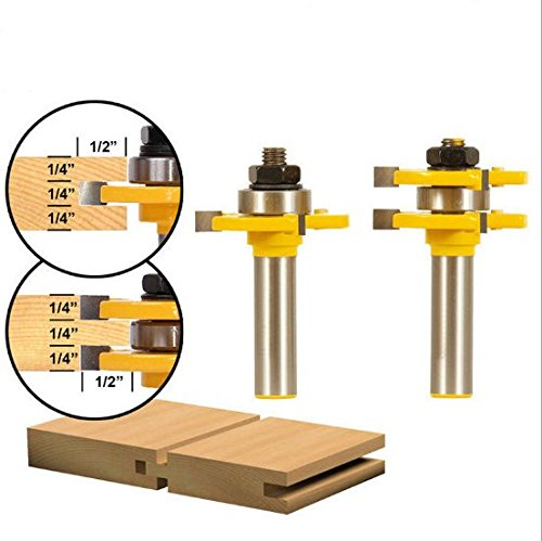 2 Pcs/set Tongue & Groove Router Bit Set 3/4