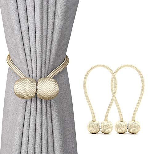 DEZENE Magnetic Curtain Tiebacks,The Most Convenient Drape Tie Backs,2 Pack Decorative Rope Holdback Holder for Big,Wide or Thick Window Drapries,16 Inch Long,Beige