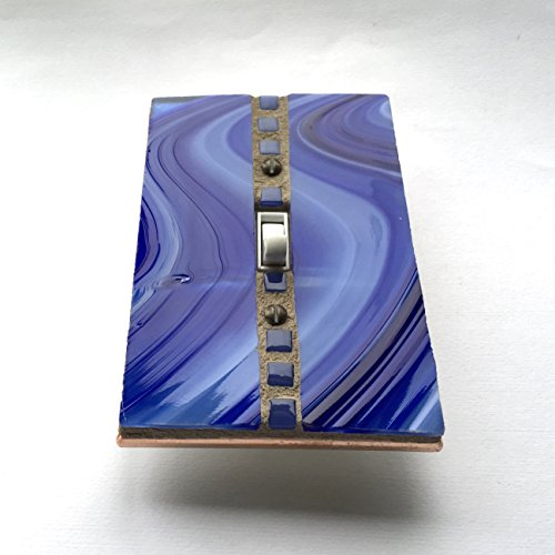 Cobalt Stained Glass Switchplate, Blue Light Switch Cover, Decorative Switch Plates, Glass Switch Plate Covers, Wall Art, Glass Art, 8578