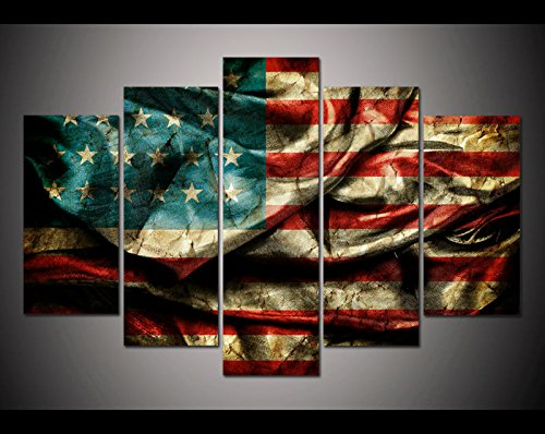 [LARGE] Premium Quality Canvas Printed Wall Art Poster 5 Pieces / 5 Pannel Wall Decor Retro American flag Painting, Home Decor Pictures - With Wooden - Flag Retro American