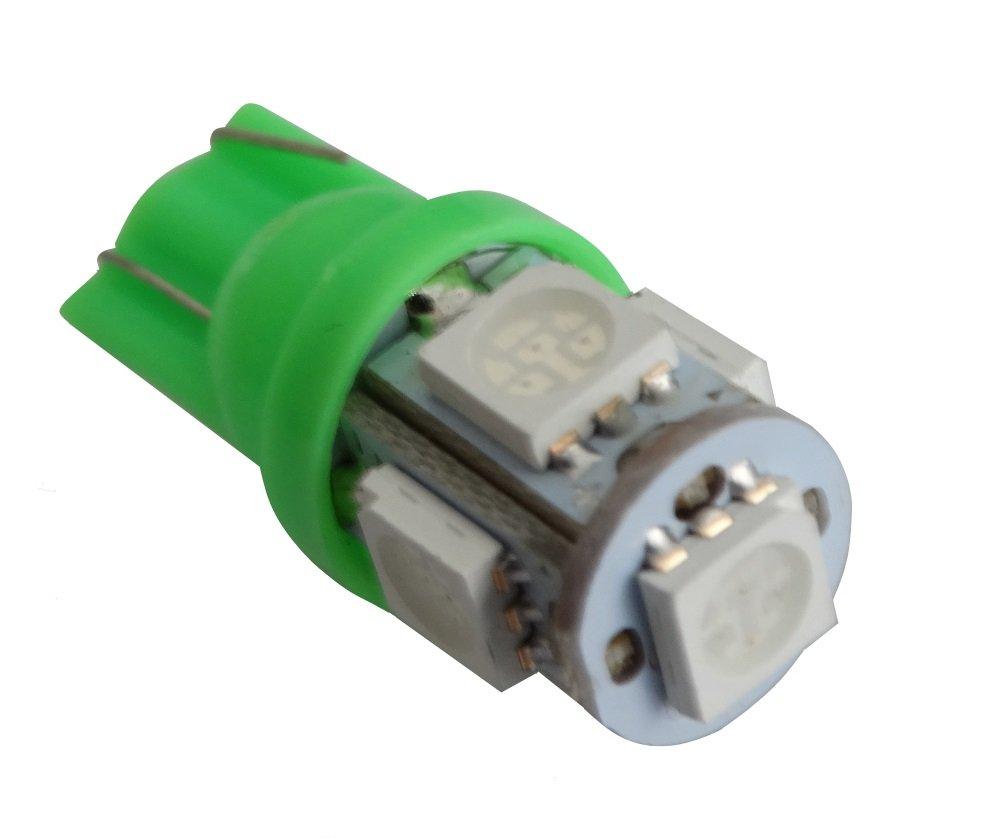 2X Ampoule T10 W5W 12V 5LED SMD Vert veilleuses /éclairage int/érieur Plaque dimmatriculation seuils de Porte plafonnier Pieds Lecteur de Carte Coffre Compartiment Moteur AERZETIX