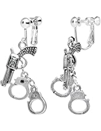 Body Candy Silver Plated Crime Fighter Hand Gun and Handcuffs Dangle Clip On Earrings