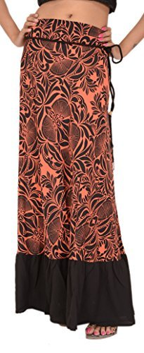505d63a3dbd2a0 Skirts  N Scarves Women s Long Moss Crepe Printed Skirt (Coral ...