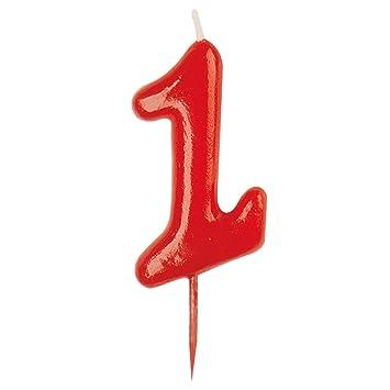 Dekora-345172 Vela de Cumpleaños Numero 1, color rojo, (345172)