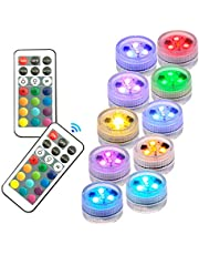 ZHUOFU Hot Tub Lights,Submersible Led Lights with IR Remote Controlled RGB Underwater Spa Light Powered by CR2450 Battery (INCLUDED) for Vase Base,Pond,Swimming Pool and Home Decorations 10 pcs