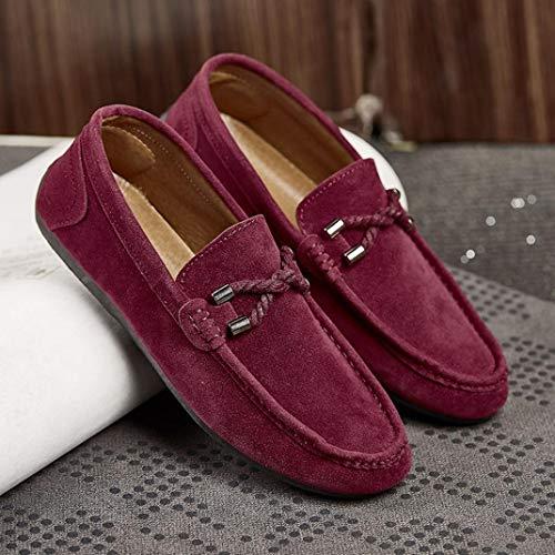 Zapatos de sólido Zapatillas Alpargatas de Plano Hombres Vino para Gamuza Mocasines Casual QinMM dw6Pd