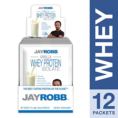 Jay Robb - Grass-Fed Whey Protein Isolate Powder, Outrageously Delicious, Vanilla, 12 Packets