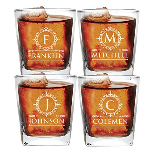 (Set of 1, 2, 3, and More Custom Etched Whiskey Rocks Glasses for Wedding Party - Personalized Square Rocks Glass Gift for Groom, Groomsman - Contemporary Style (4))