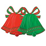 Beistle 22418 Foil Christmas Bell Silhouettes, 16½'', 24 Assorted (Red and Green) Cutouts Per Package