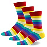 Men's Boy's Fashion Party Dress Socks, diwollsam Novelty Fancy Cotton Patterned Crew Socks(3 or 4 Pairs)