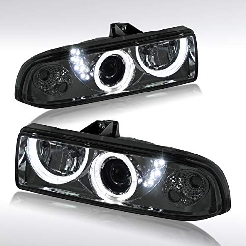(Autozensation For Chevy S10 Blazer Pickup SMD Halo LED Smoke Projector Headlights)