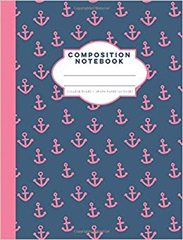 navy and pink anchors composition notebook college ruled graph