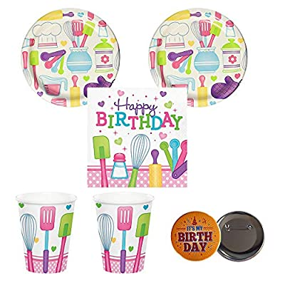 Razzle Dazzle Celebrations Little Chef Cooking Baking Party Supplies for 16 Guests, Small Plates, Napkins, Cups Plus Button