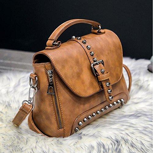 Main Bandoulière Sac Vintage Lady Messenger Noir à Rivet Fashion Bag Sac à qtxw70Bpw