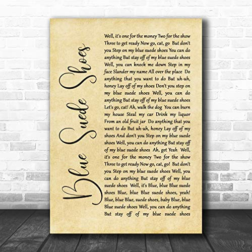Blue Suede Shoes Rustic Script Song Lyric Quote Music Poster Gift Present Art Print