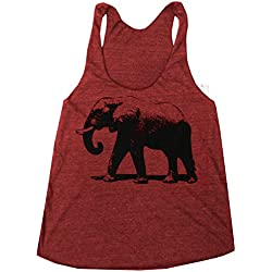 Happy Family Elephant American Apparel Racerback Tank Top (X-Large, Cranberry)