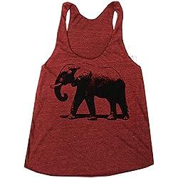 Happy Family Elephant American Apparel Racerback Tank Top (X-Large, Cranberry)