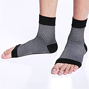 2 Pairs Plantar Fasciitis Foot Compression Sleeves-Premium Ankle Support,Arch Support,Relief for Heel&Foot Pain,Discomfort-Great for Running,Hiking,Sports&Everyday Wear (black, small/medium)