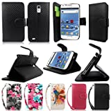 Cellularvilla (Tm) Case for Samsung Galaxy S2 S II T989 T-mobile Carbon Fiber Black PU Leather Wallet Card Flip Open Case Cover Pouch.