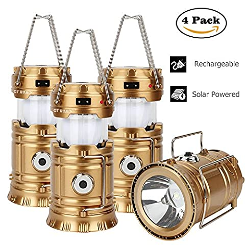 4 Pack GT ROAD Lantern, Rechargeable Solar Led Lantern Flashlight Outdoor