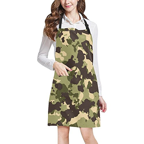 Military Camo Camouflage Pattern Print Adjustable Kitchen Chef Bib Apron with Pocket for Cooking, Baking, Crafting, Gardening by LumosPrint