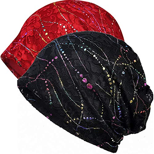 Womens Cotton Beanie Lace Turban Soft Sleep Cap Chemo Hats Fashion Slouchy Hat (2 Pack Black+Burgundy)