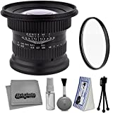 Opteka 15mm f/4 LD UNC AL 1:1 Macro Wide Angle Manual Full Frame Lens + UV Filter for Canon 80D, 70D, 60D, 7D, 6D, 5Ds, 1Ds, Rebel T6i, T6s, T6, T5i, T5, T4i, T3i Digital SLR Cameras + Cleaning Kit