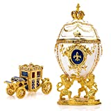 "Unique Decorative White Faberge Egg: Extra Large 6.6"", Hand Painted Jewelry Box for the Ultimate Home Décor 
