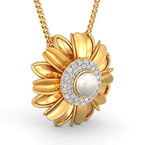 Or jaune 18K 0,34CT TW Round-cut-diamond (IJ | SI) et blanc perle Pendentif