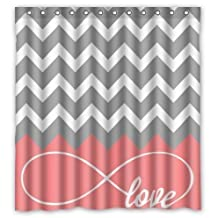 CHARM HOME Love Infinity Forever Love Symbol Chevron Pattern pink Grey White Waterproof Bathroom Fabric Shower Curtain 36x72 inch