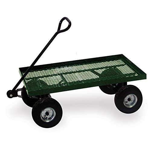 Garden Cart Wheeled Flatbed Heavy-duty Steel Construction, Green Powder Finish, Great for Patio and Lawn by ABS