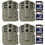 (4) MOULTRIE Game Spy A-5 Gen2 Low Glow IR 5 MP Digital Game Cameras + SD Cards